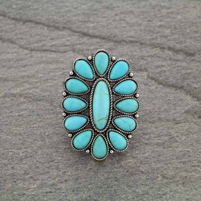 Turquoise Oval Concho Adjustable Ring