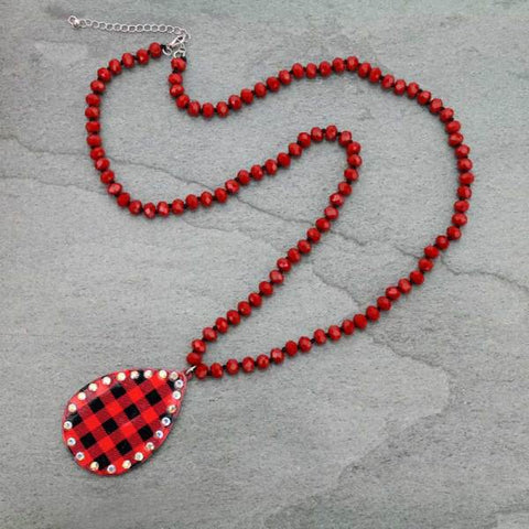 *Red Crystal Necklace with Bling Plaid Teardrop Pendant
