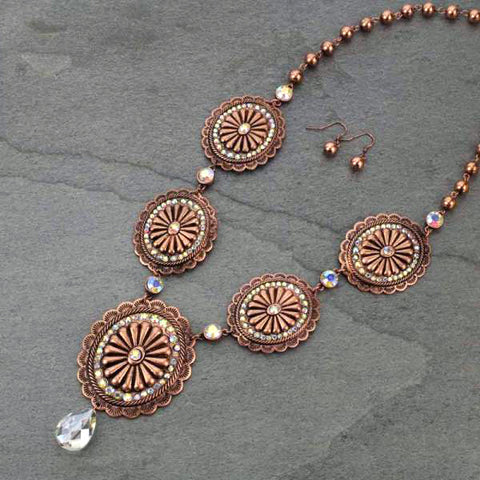 *Copper Sunburst Bling Concho Necklace
