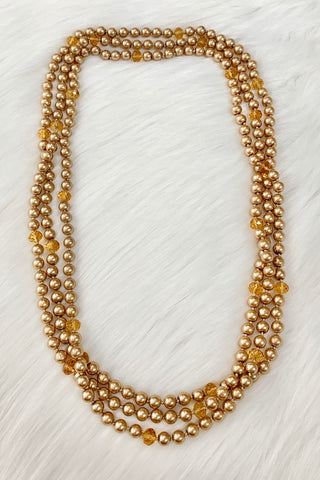 "*Golden Pearl Beaded 90"" Layering Necklace"