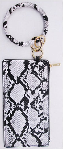 *White & Black Snake Print Wallet Wristlet with Key Chain Ring