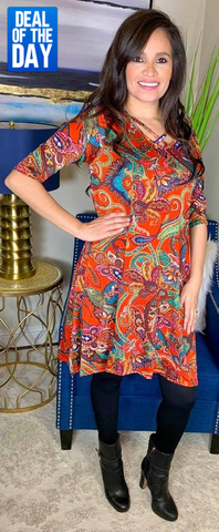 *Rust Paisley Flutter Dress with Criss Cross Neck