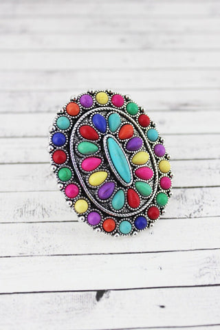 Large Multi Color Stones Concho Ring