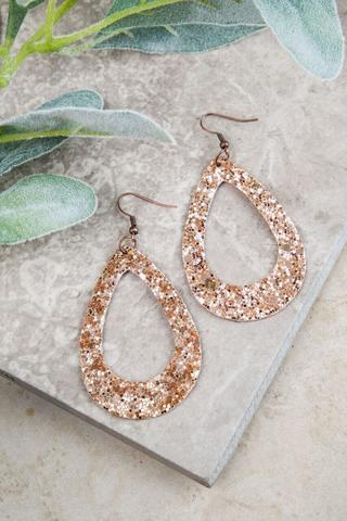 Rose Gold Glitter Teardrop Outline Earrings