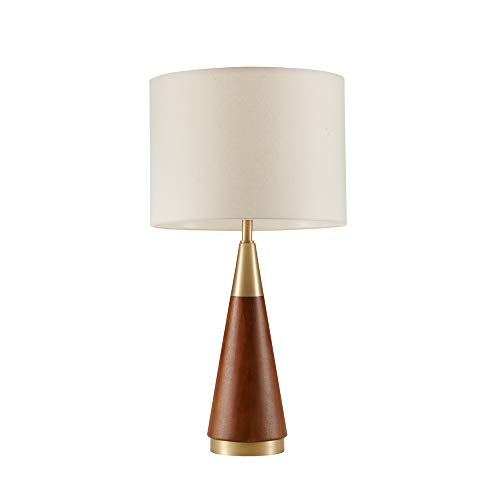 "Chrislie Gold White Mid Century Modern Table Lamp , Contemporary Metal Wood Table Lamps for Bedrooms , 13.5""W X 13.5""D X 26""H , Gold / Brown"