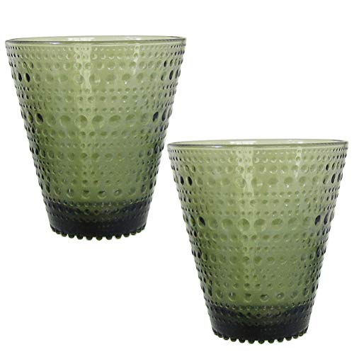 Kastehelmi Moss Green Tumblers, Set/2 Pieces by Oiva Toikka