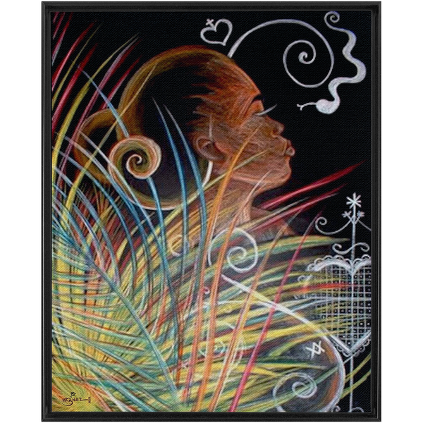 Earth - Art by Nazaire Framed Traditional Stretched Canvas