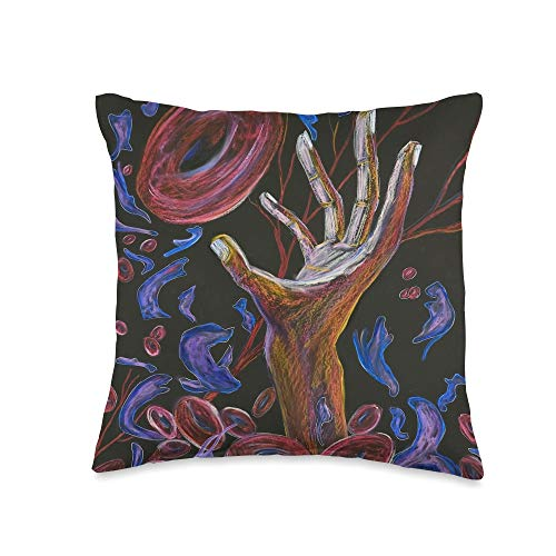 Sickle Cell Awareness Sickle Cell Pain Awareness Art Hope Throw Pillow, 16x16, Multicolor