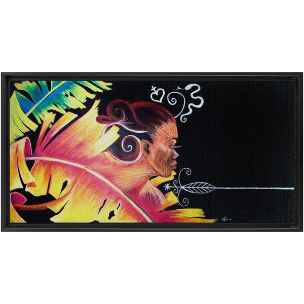 Fire - Haiti Inspired Art Framed Extra Large Canvas