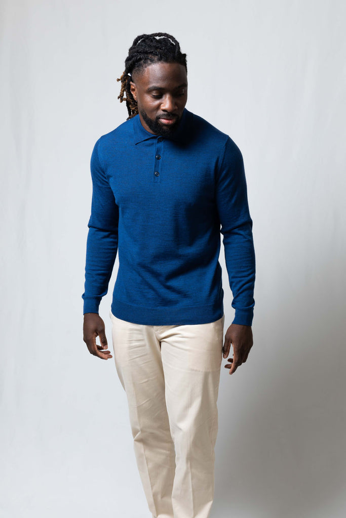 Bright Blue Long Sleeve Polo