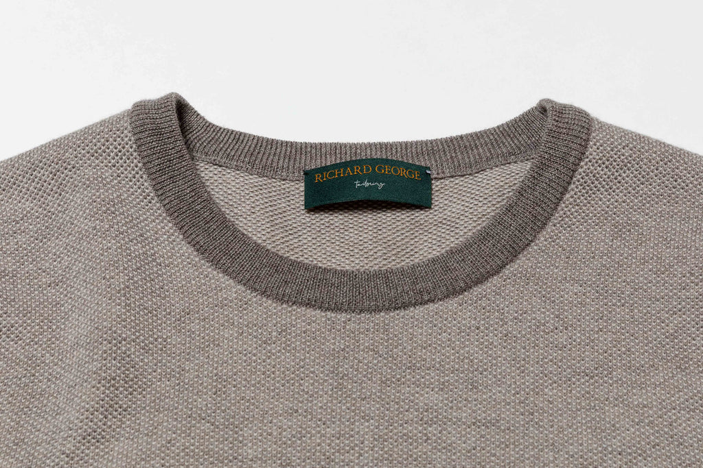 Two-Tone Crewneck Taupe and Cream