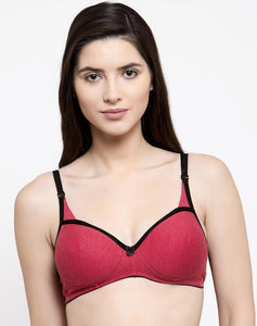 COTTON ESSENTIAL DOUBLE LAYERED WIRE FREE BRA - 183