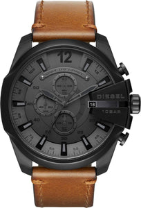 Brown Leather Belt Black Analog Watch