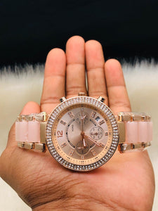 MRS.ROSE GOLD DIAL METAL STRAP ANALOG Watch - For Girls