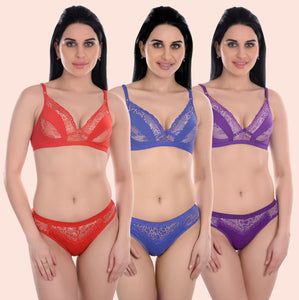 Combo Set Of 3 Padded Wirefree Push Up Bra & Panty Set - 14