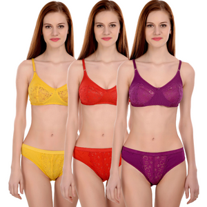 Combo Set Of 3 Padded Wirefree Push Up Bra & Panty Set - 24