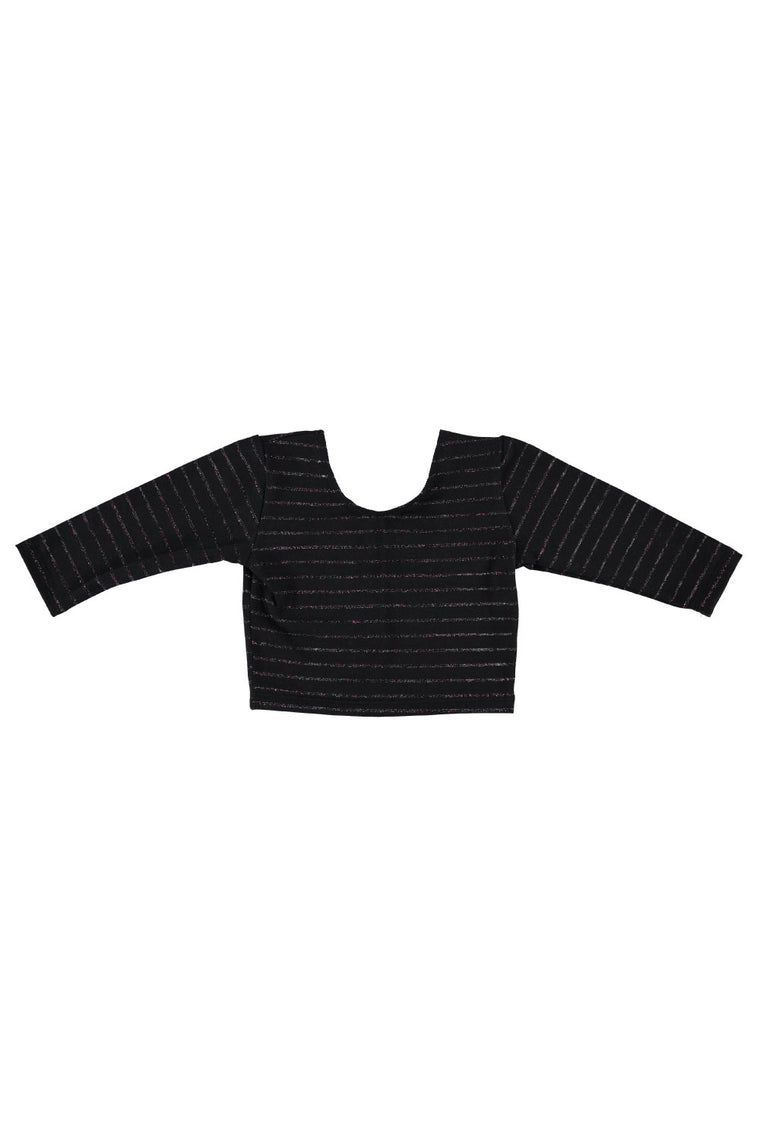 3/4 Sleeve Crop Top - Midnight