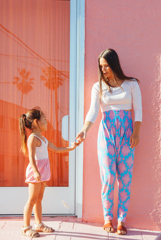 Women's Harem Pants - Bubblegum Ikat