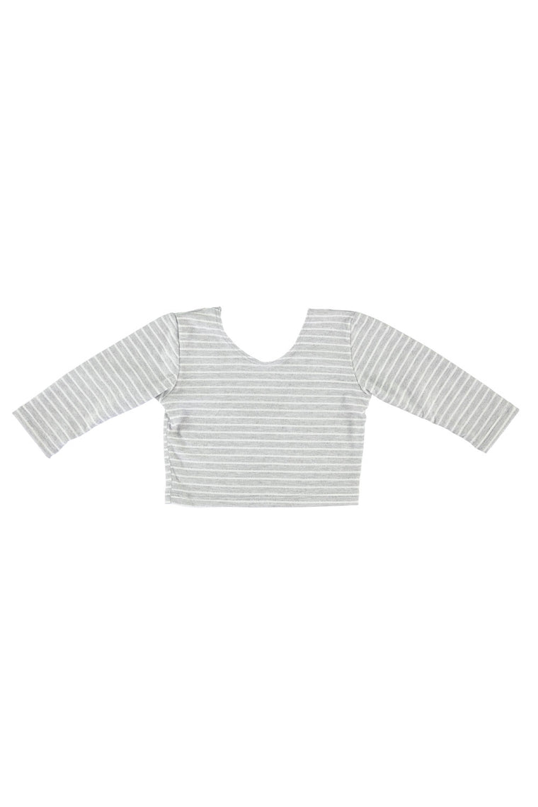 3/4 Sleeve Crop Top - Grey Stripe