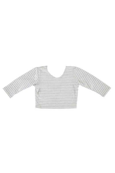 Long Sleeve Crop Top - Grey Stripe