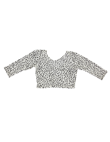 Long Sleeve Crop Top - White Dot