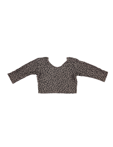 Long Sleeve Crop Top - Grey Dot