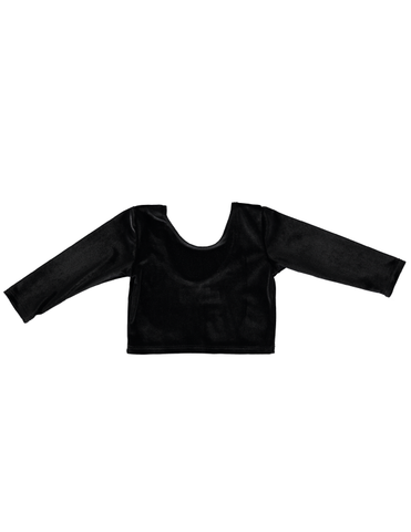 Long Sleeve Crop Top - Black Velvet