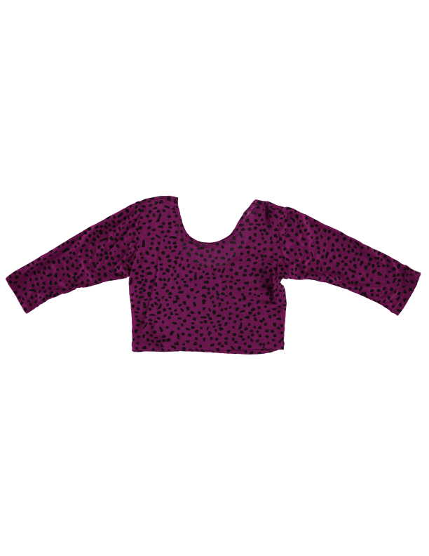 Long Sleeve Crop Top - Magenta Dot