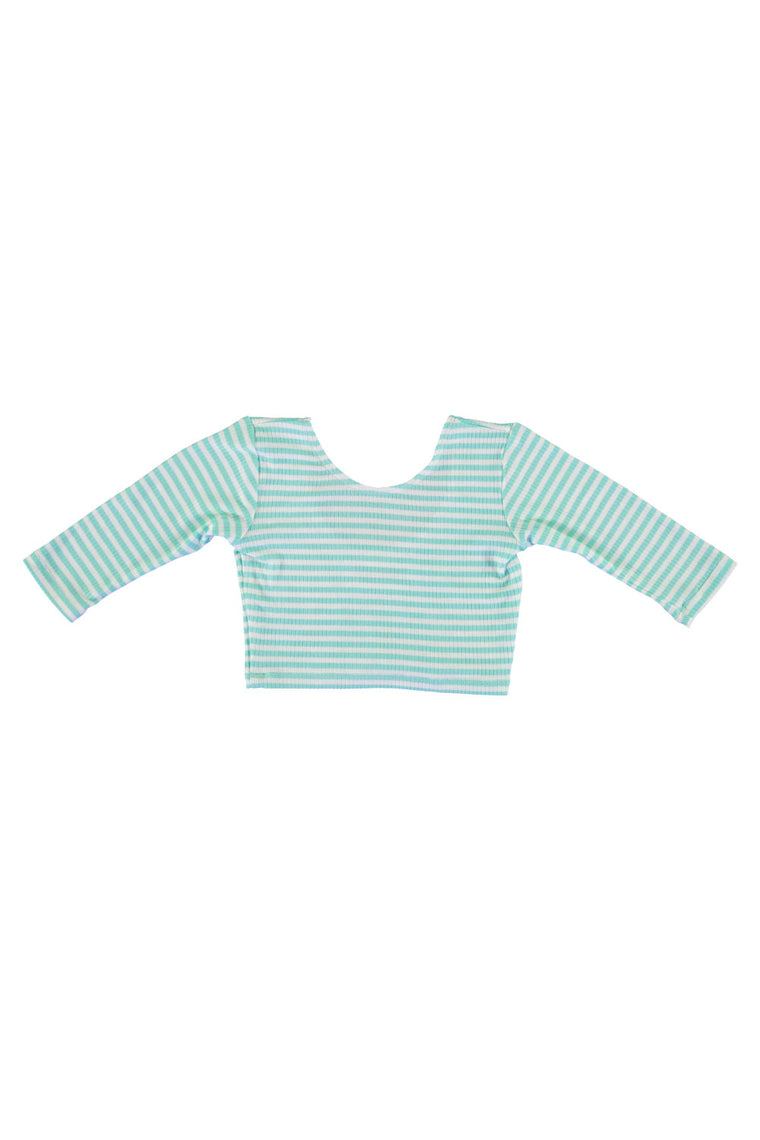 3/4 Sleeve Crop Top - Mint Stripe