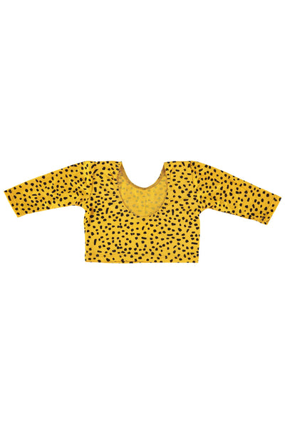 Long Sleeve Crop Top - Mustard Dot
