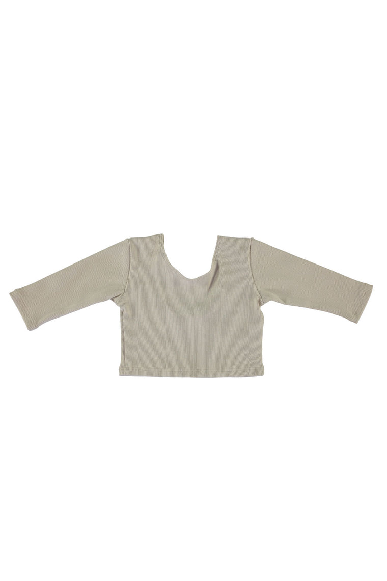3/4 Sleeve Crop Top - Eggshell Rib