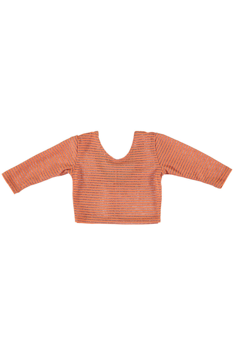 3/4 Sleeve Crop Top - Orangesicle