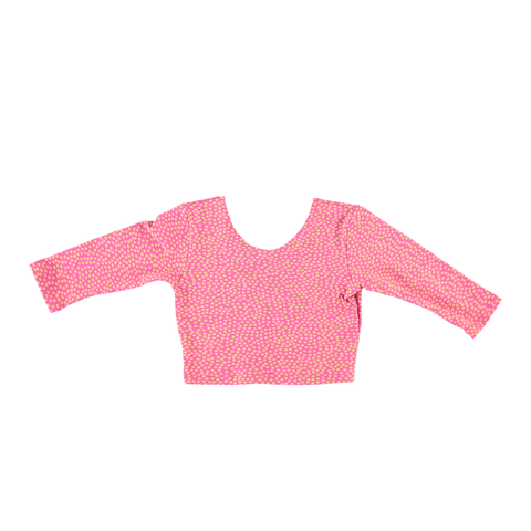 Long Sleeve Crop Top - Pink Dot