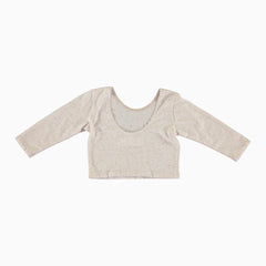 3/4 Sleeve Crop Top - Oatmeal