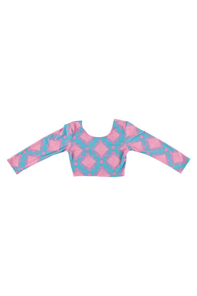 Women's 3/4 Sleeve Crop Top - Bubblegum Ikat