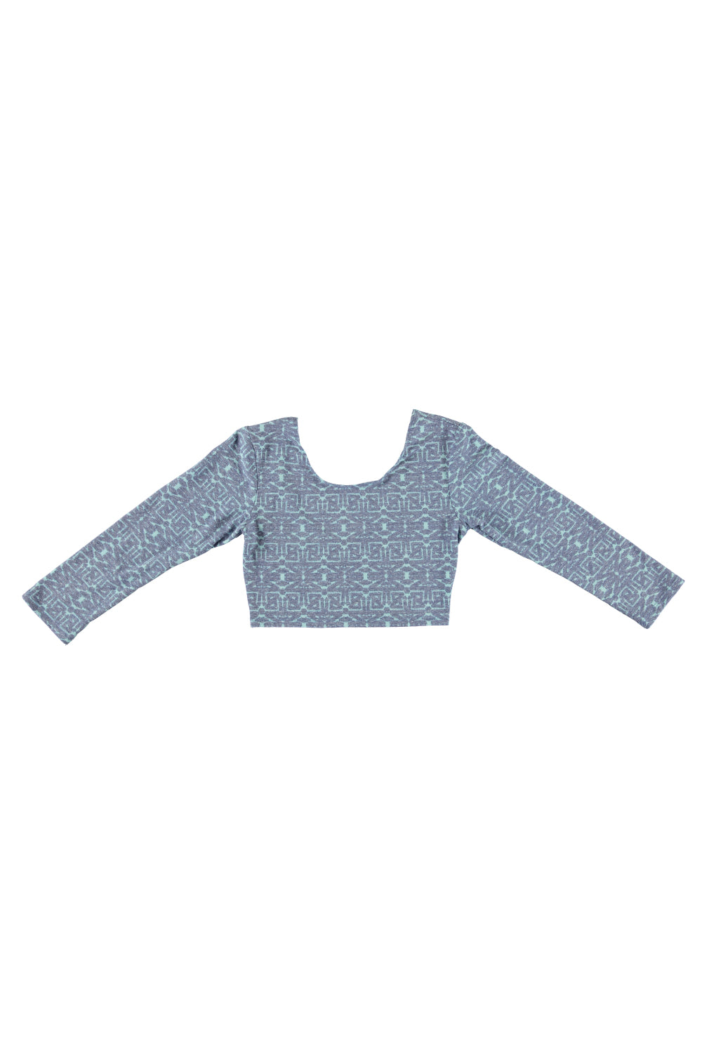 Women's 3/4 Sleeve Crop Top - Tribal Indigo