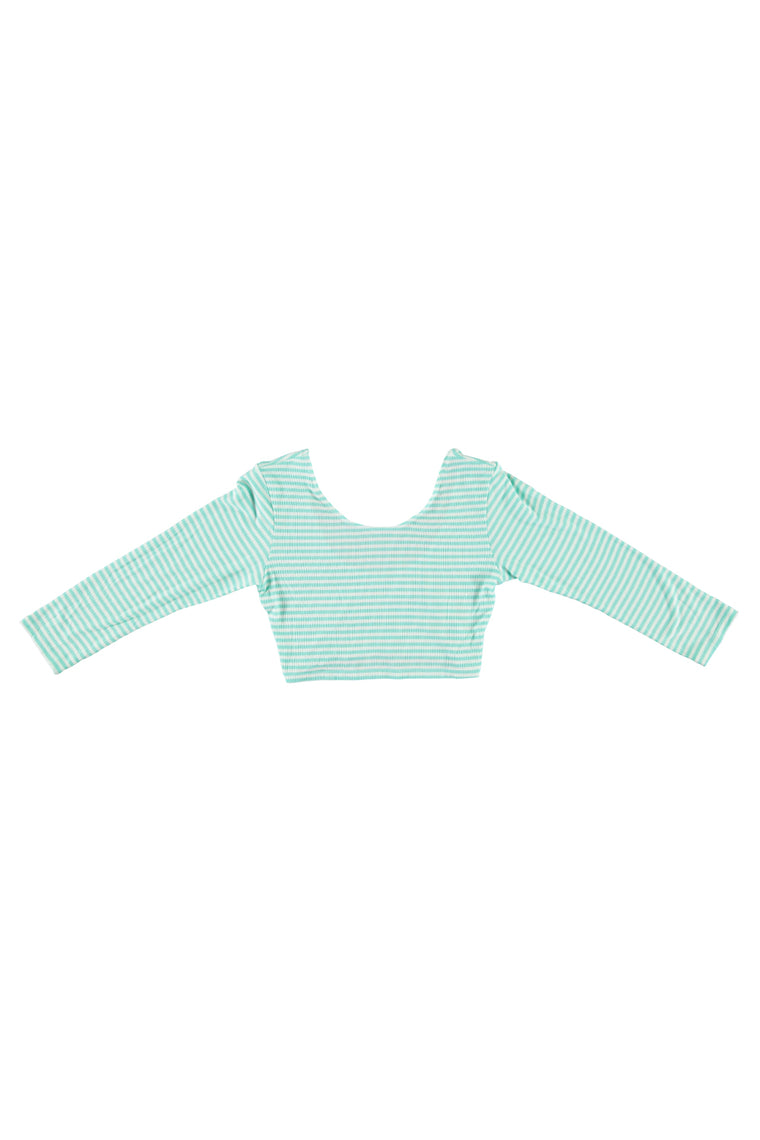 Women's 3/4 Sleeve Crop Top - Mint Stripe