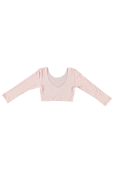 Women's 3/4 Sleeve Crop Top - Pink Stripe