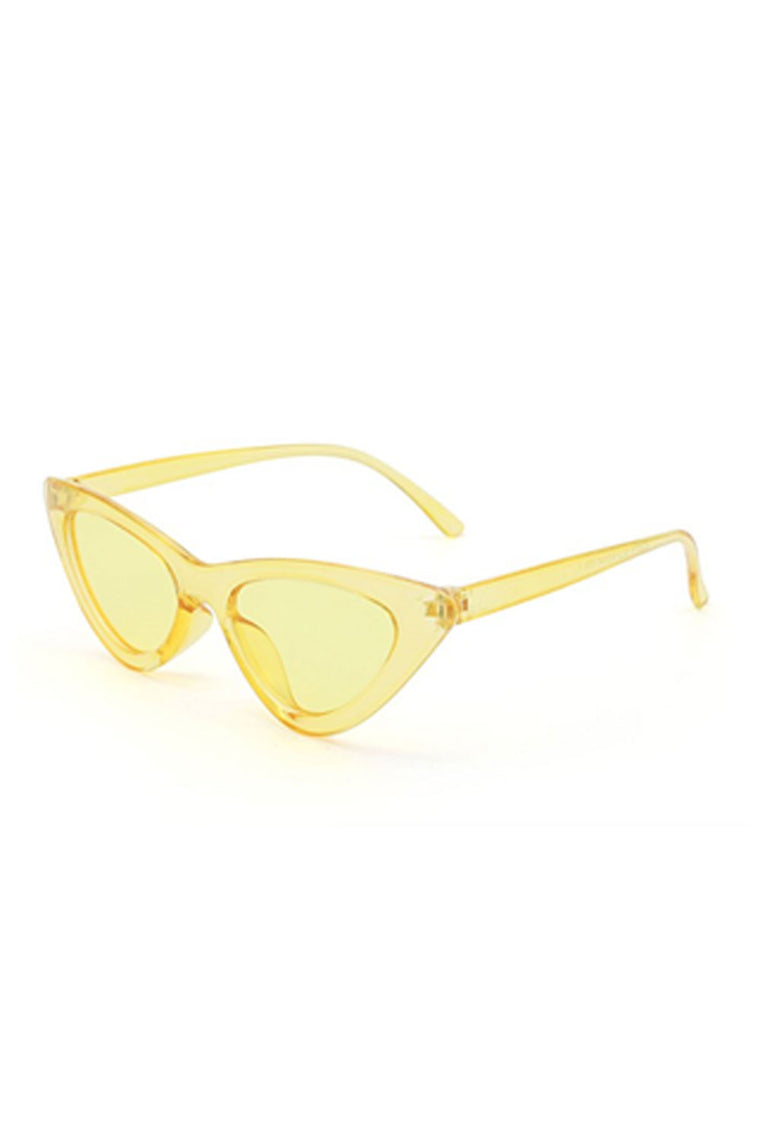 Retro Cat Eye Sunglasses - Yellow