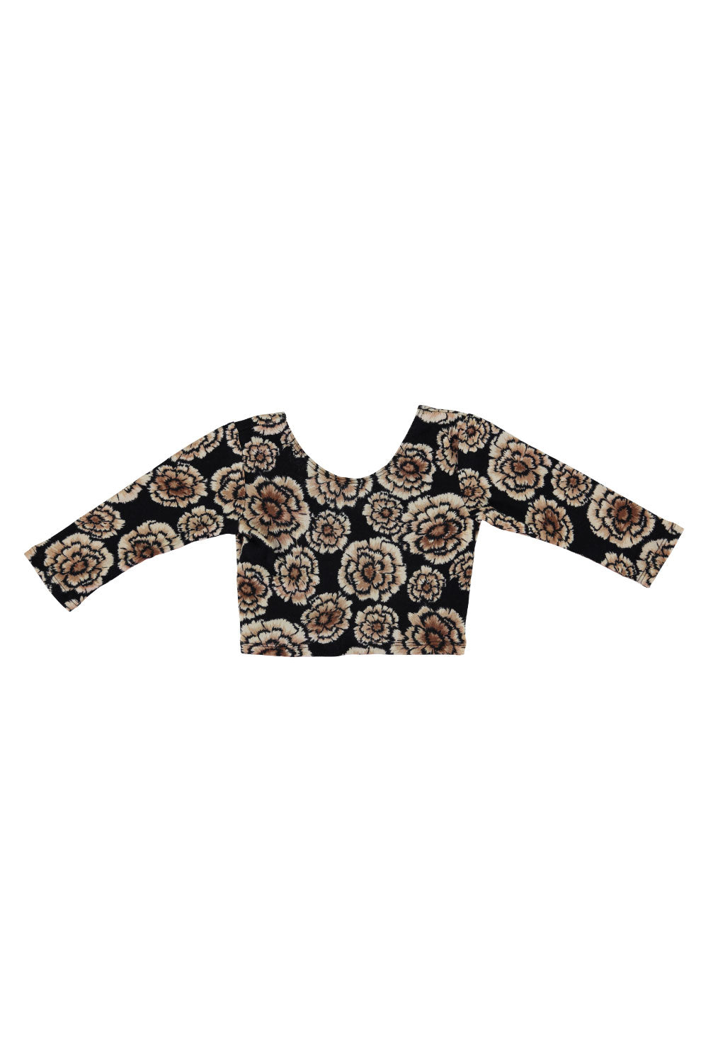 3/4 Sleeve Crop Top - Black Floral