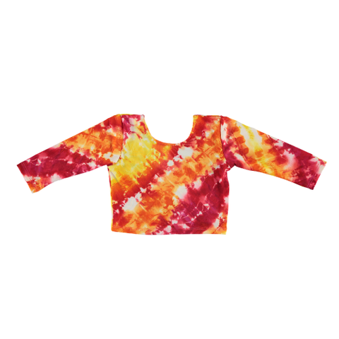 Swim Long Sleeve Crop Top - Rainbow Tie Dye