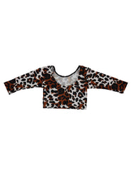 Long Sleeve Crop Top - New Cheetah