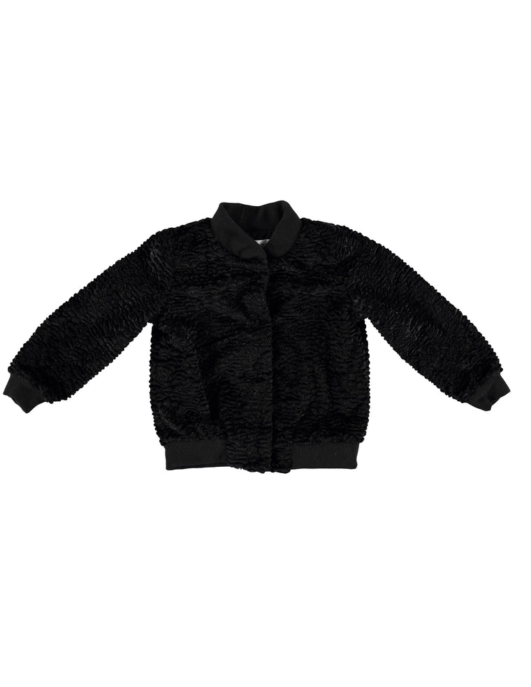 Faux Fur Bomber - Black Shearling