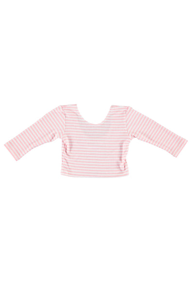 3/4 Sleeve Crop Top - Pink Stripe