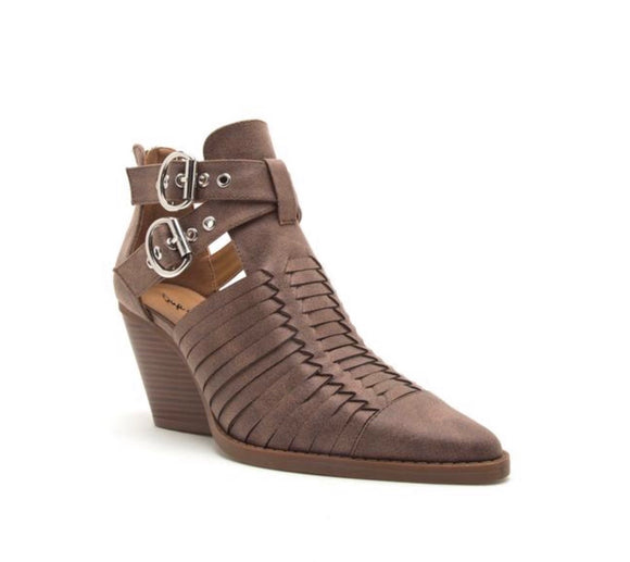 Brown Strappy Bootie