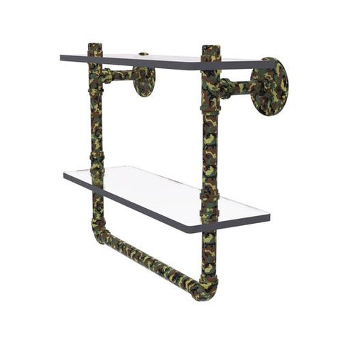 Camo finished double glass pipe shelf with towel bar