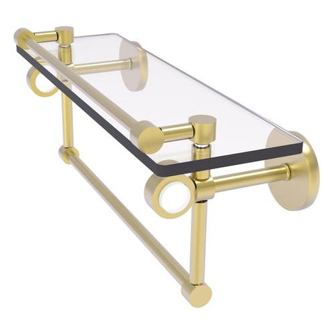 Glass and brass shelf with acrylic inlay, towel bar, and gallery rail