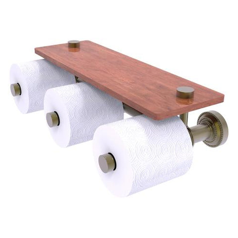 Three-roll toilet paper holder with wood shelf