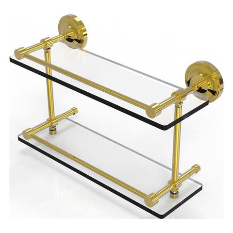 Brass and glass shelf with gallery bars Allied Brass Canada