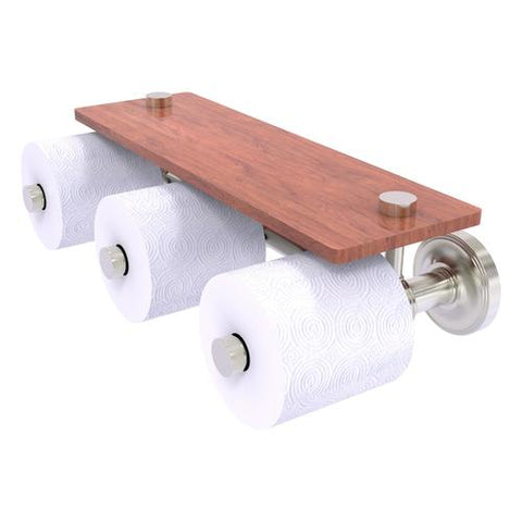 Treble roll toilet paper holder with wood shelf